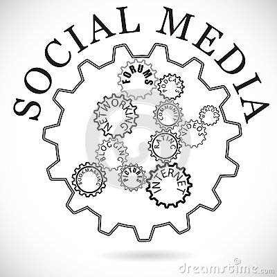 Social media components shown as cogwheels in sync