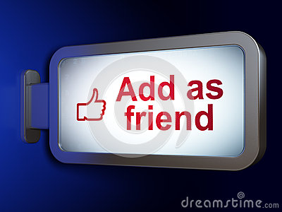 Social media concept: Add as Friend and Like on billboard backgr