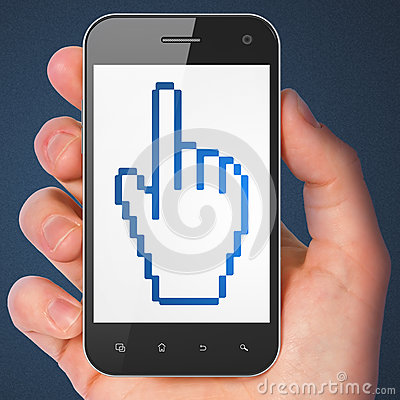 Social media concept: Mouse Cursor on smartphone