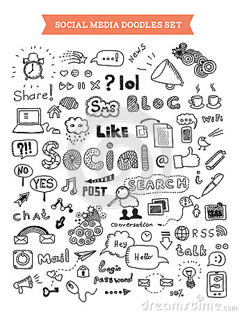 Free Social Media Doodle Elements Set Royalty Free Stock Photo - 30689405