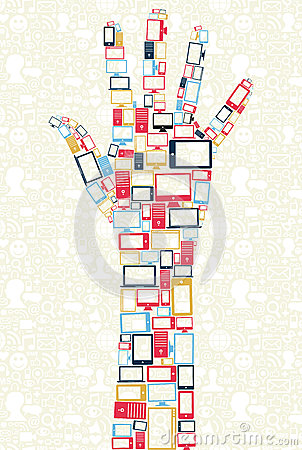 Social media gadgets icons in hand shape concept