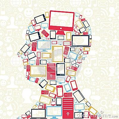 Free Social Media Gadgets Icons Man Head Royalty Free Stock Photos - 26696718