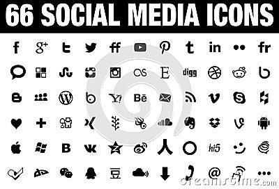 66 Social Media Icons black Vector Illustration