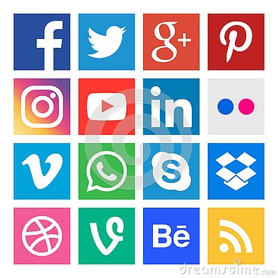 Social media icons. Buttons collection in vector. Vector Illustration