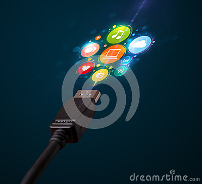Social media icons coming out of electric cable