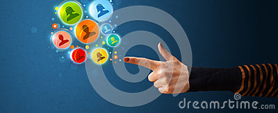Social media icons coming out of gun shaped hand