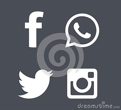 Social media icons in grey background Editorial Stock Photo
