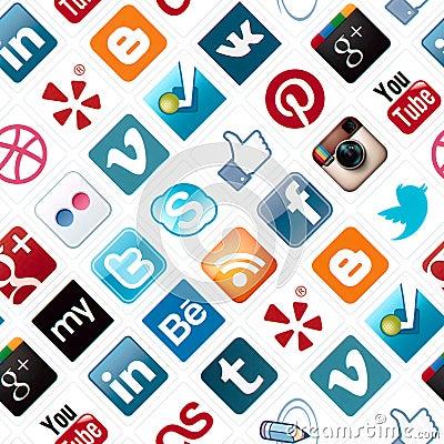 Social Media Icons Seamless Pattern Editorial Photo