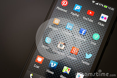 Social media icons on smart phone screen Editorial Image