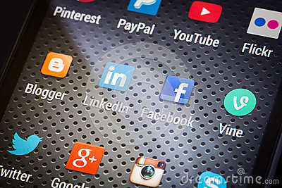 Social media icons on smart phone screen Editorial Stock Image