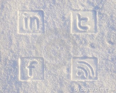 Social Media Icons in Snow Editorial Stock Photo