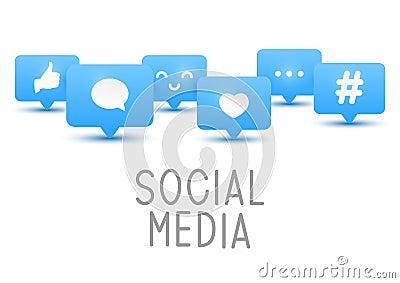 Social media icons on white Vector Illustration
