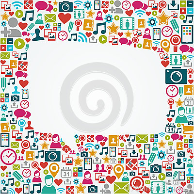 Free Social Media Icons White Speech Bubble Shape EPS10 Stock Photo - 33558310
