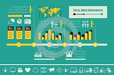 Social Media Infographic Template. Stock Vector - Image: 41047490