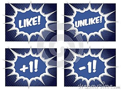 Social Media Like Dislike Plus One Pop Art Buttons