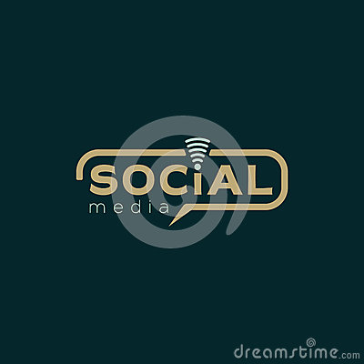 Social media logo. Color brown and green dark vector design with wireless icon Vector Illustration