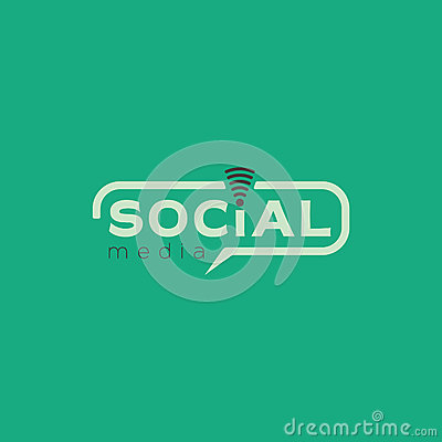 Social media logo. Color light green vector design with wireless icon Vector Illustration
