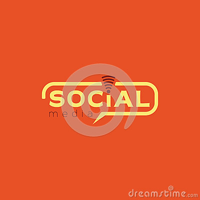Social media logo. Color yellow vector design with wireless icon Vector Illustration