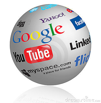 Social media logos globe Editorial Photo
