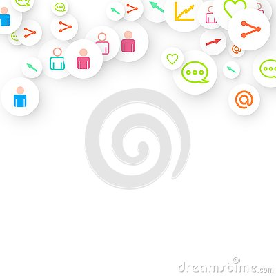 Social media marketing, Communication networking Vector Illustration