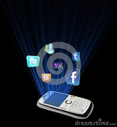 Social media in mobile phone Editorial Stock Image