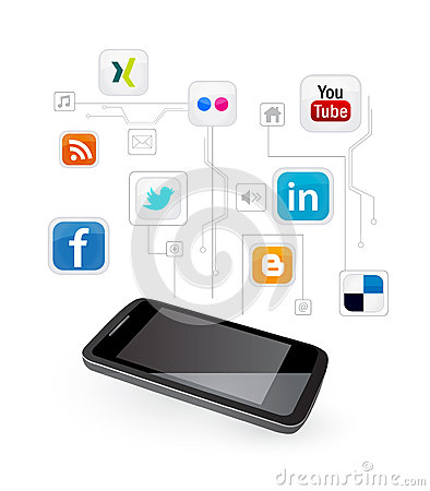 Social media on mobile phone Editorial Stock Photo