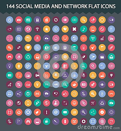Social media and network flat icons