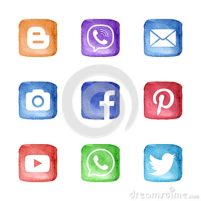 Free Social Media Network Icons Set Stock Photography - 66378232