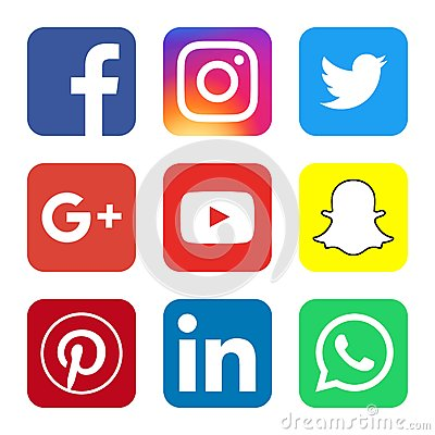 Free Social Media Official Logos And Buttons Royalty Free Stock Image - 84556546