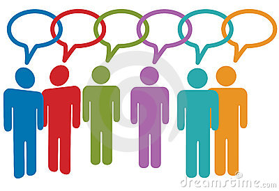 Social media people talk in speech bubble links