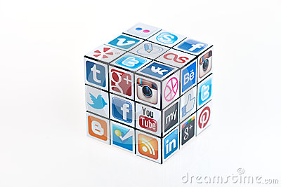 Social Media Rubick s Cube Editorial Photography