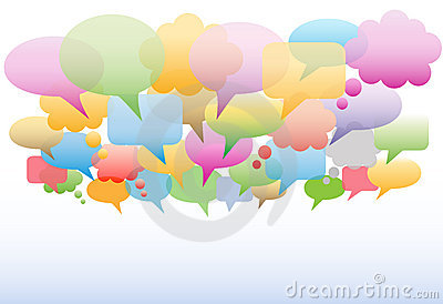 Social media speech bubbles colors background