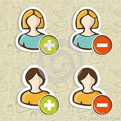 Social media user people icons set