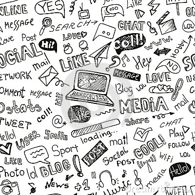 Social Media Word,Icon seamless pattern.Doodle Vector Illustration