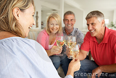 Social mid age couples drinking together at home