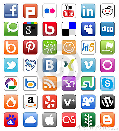 Social Media Network Buttons Button Set Editorial Photography