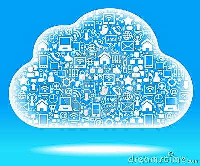 social network cloud blue