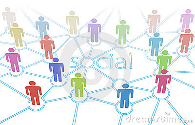 Social network color people media connections