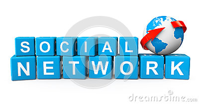 Social Network Concept. Cubes with Earth Globe