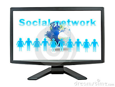 Social network concept on a monitor screen
