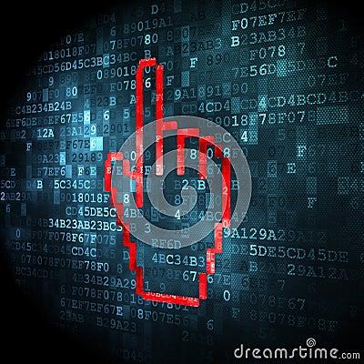 Social network concept: Mouse Cursor on digital background