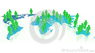 Social network concept on world globe, 3D images