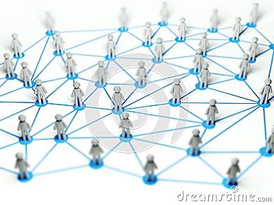 Social network connection concept ,3d illustration