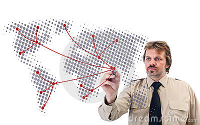 Social network drawn by businessman