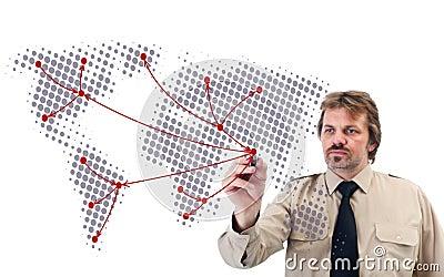Social network drawn by businessman