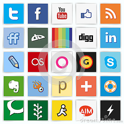 Social network flat multi colored icons Editorial Stock Image
