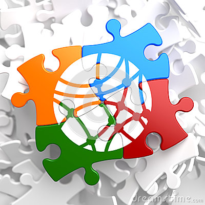 Social Network Icon on Multicolor Puzzle.