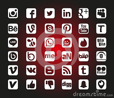 Social Network Icons Editorial Stock Image