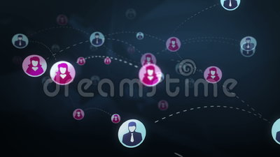 Social network media concept. Social network gender users, sms, messages, media concept, blue dark background with animated links royalty free illustration