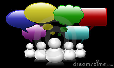 Social Network Media people group speech bubbles